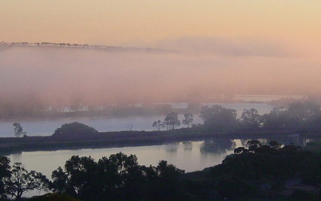 Beautiful river fog on the Murray River at Mannum