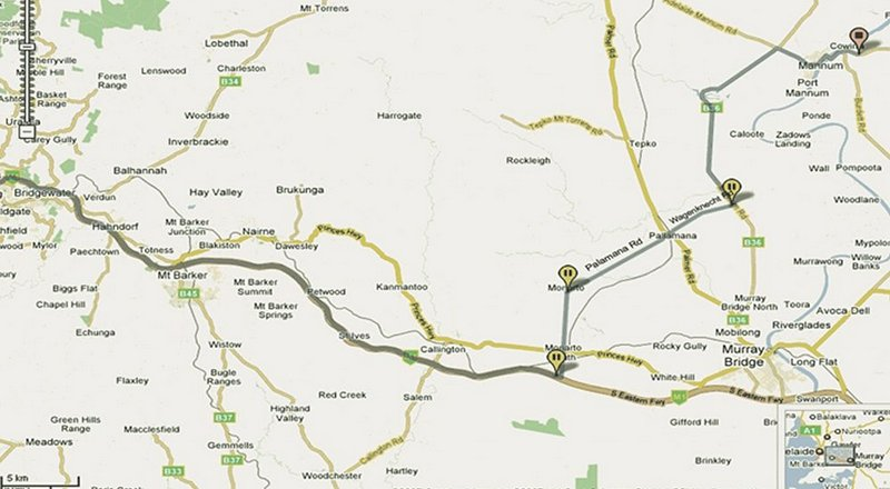 Location map for Riverview Rise Retreats accommodation near Adelaide