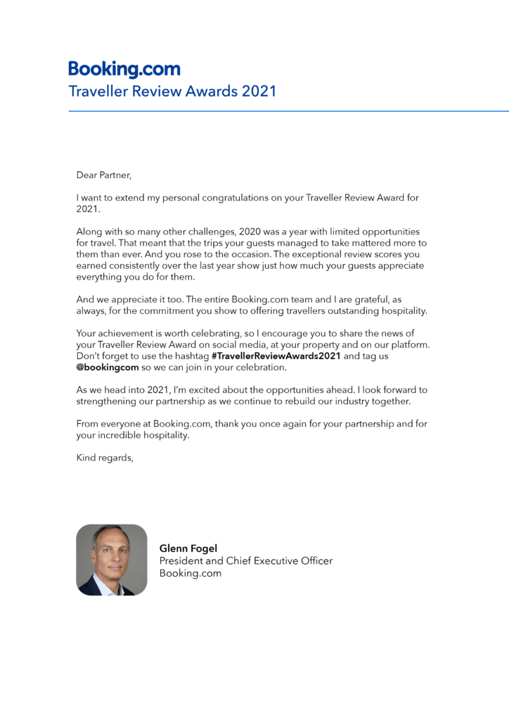 Booking.com Reviews Award 2021 letter from the company CEO